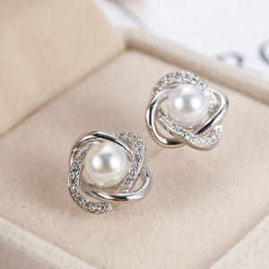 Details About Stunning 925 Solid Silver Crystal Star Pearl Ear Stud Earrings Wedding Jewellery