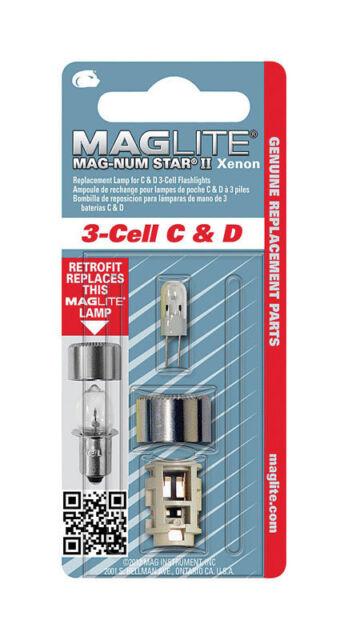 Mag Lite 3 Cell C//D Magnum Star II Xenon Replacemnt lampe de poche Ampoule LMXA301