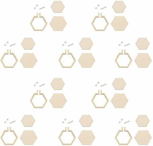 10pcs Mini Wood Hoops Punched Hoop Ring for Cross Stitch Frame DIY Pendant Craft
