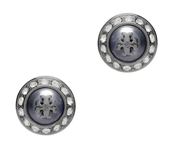 Tory Burch 41145502 Natalie Domed Logo Gray Black Crystals Stud Earrings Ebay
