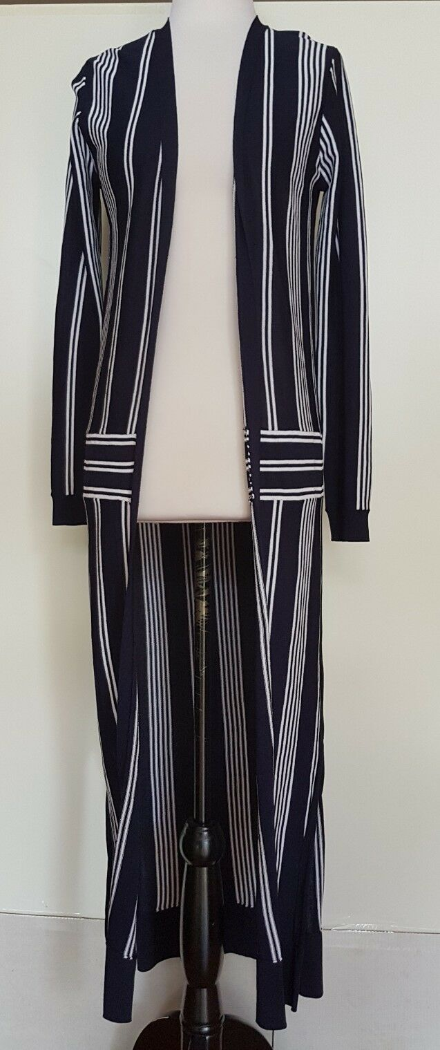 ASOS Navy White Stripe Long Cardigan Size 6