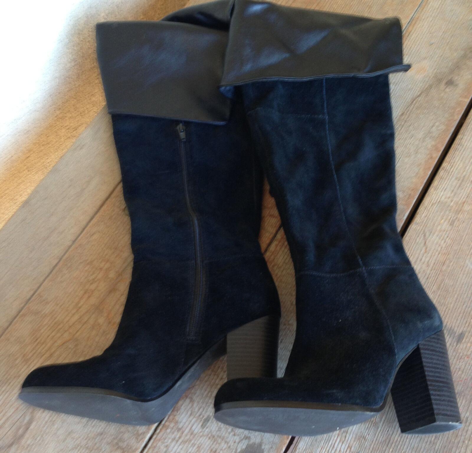 Se Boutique encima de la rodilla Negro Gamuza Pirata Pirata Pirata botas 8 para mujer Zip dentro de 3,5  del talón  la calidad primero los consumidores primero