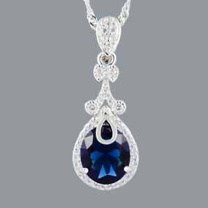 Xmas-Oval-Cut-Blue-Sapphire-18K-White-Gold-Plated-CZ-Pendant-Necklace-Free-Chain