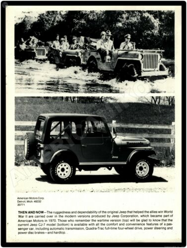 Then and Now New Metal Sign From Original Press Photo Jeep CJ-7