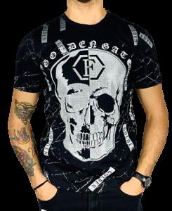 t-shirt-maglietta-manica-corta-UOMO-tipo-PLEIN-teschio-brillantini-JEANS-moda