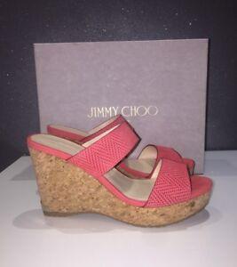54dab22b0c6 NIB Jimmy Choo Parker Cork Wedge Sandal Flamingo Red Slide 9.5US ...