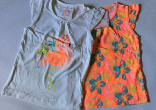 Girls 2 Pack Tops in White Orange with Flamingo detail age 2-3 years