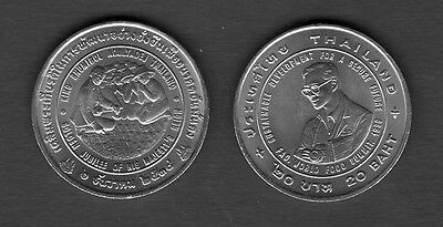 King Bhumibol Adulyadej Rama IX 1997 Thailand 20 Baht Coin Rice Award Thai