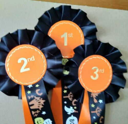 2nd and 3rd Halloween Rosettes made with good quality satin ribbon 1st
