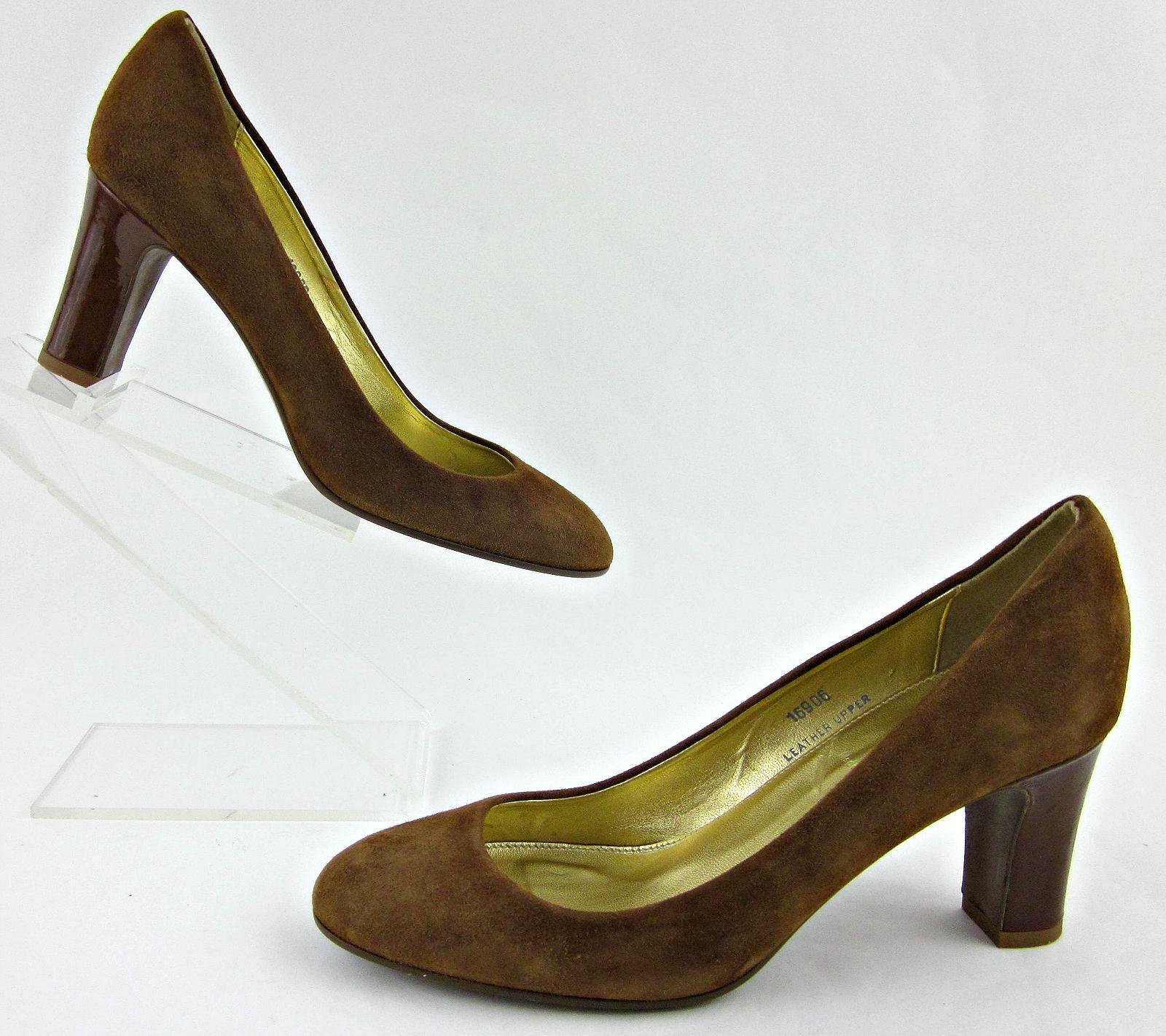 J.Crew Round Toe Dress Pumps Camel Suede Leder Sz 7 Made In