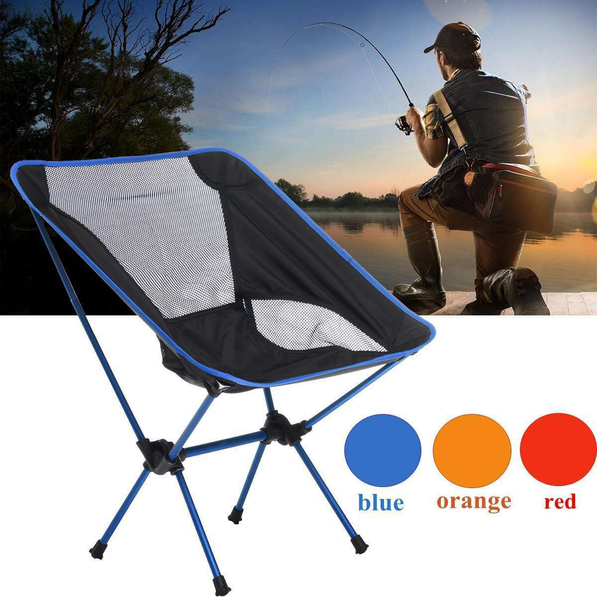 Portable Folding Camping Chair Outdoor Fishing Hiking Foldable Table Seat Chairs