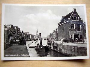 OLD-REAL-PHOTO-PC-AMSTERDAM-St-ANTONIESLUIS-ANIMATED-LOCK-TUGBOAT