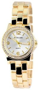 Excellanc-Damenuhr-Silber-Gold-Strass-Analog-Metall-Quarz-X152302500004