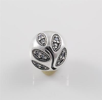 Authentic Genuine Pandora Silver Sparkling Leaves Clip Charm 791416CZ