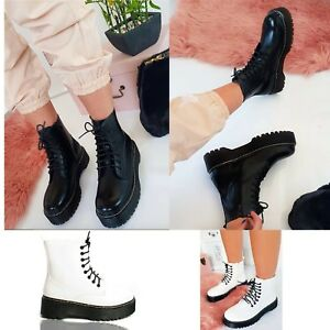 Womens-Ladies-Chunky-Lace-Up-Ankle-Boots-Platform-Doc-Goth-Black-Shoes-Size