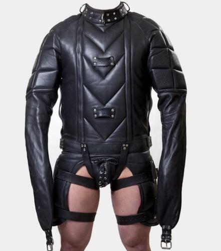 Jacket Straight No Bondage Heavy Duty Padded Leather Clubwear Straitjacket Real Y0UAwqZq