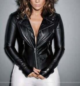 Women Leather Jacket Black Biker Moto Pure Pure Lambskin Size XS S M L XL XXL
