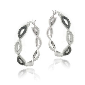 1-5ct-Black-Diamond-Black-amp-White-Marquise-Hoop-Earrings