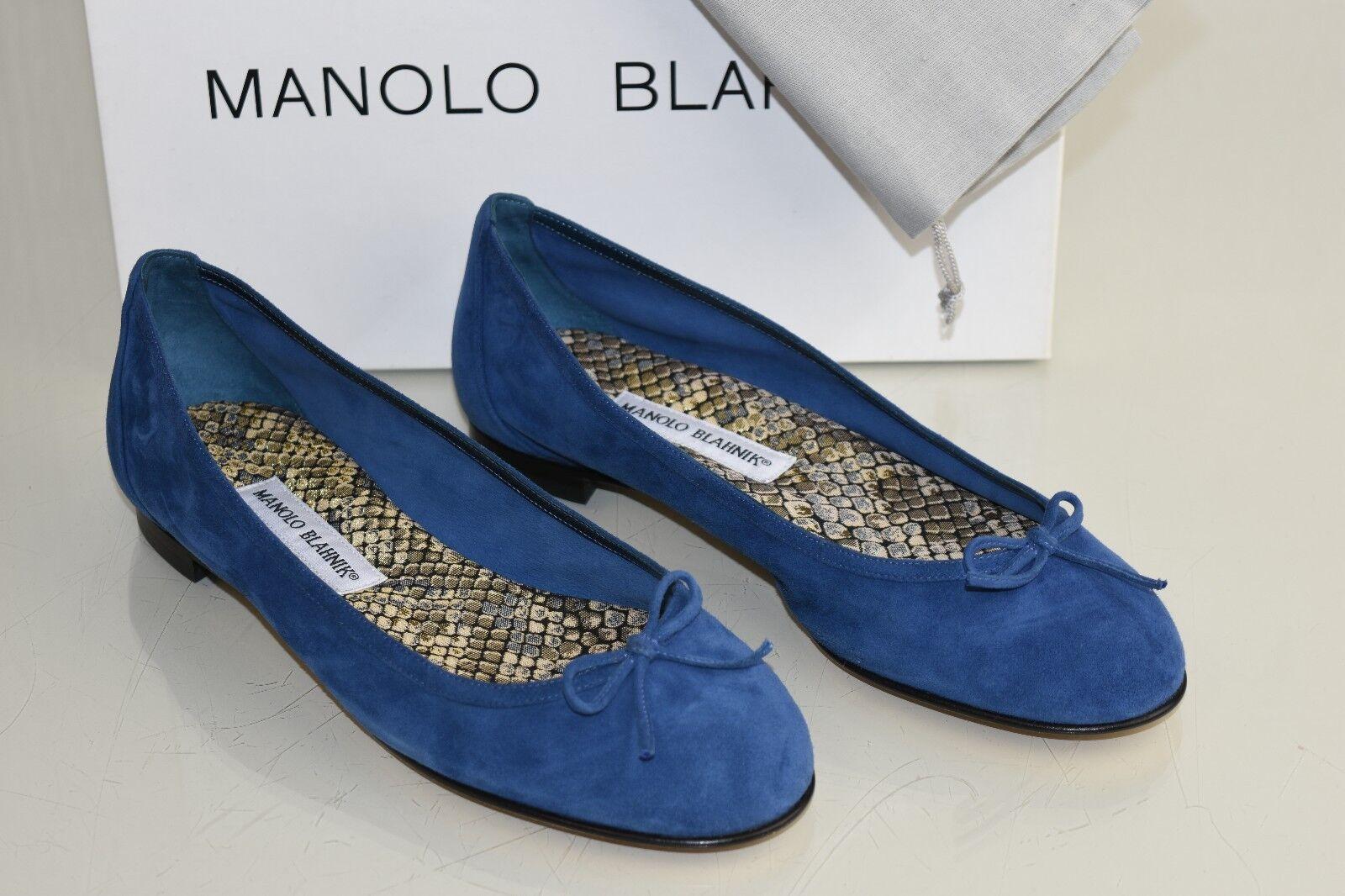 595 NEW Manolo Blahnik Blahnik Blahnik Fracto Suede Flats bluee Navy Flat SHOES Bow 37.5 39.5 40 025333