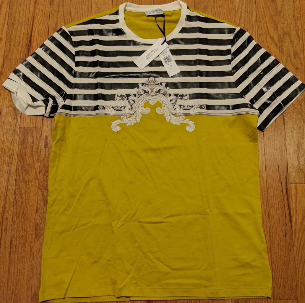 Uomo Medium autentico Versace Collection Baroque Marine T-Shirt Mustard Medium Uomo  295 b51b09