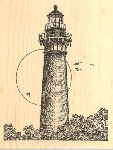 Currituck Lighthouse Wood Mounted Rubber Stamp IMPRESSION OBSESSION F1815 New