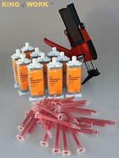 Set kli-TEC 1x Dosierpistole 10x 2K Kunststoffkleber 30x Mischdüse Glue Kleber