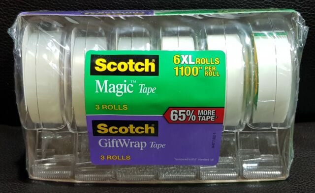 """EXTRA LONG 3M Scotch  Satin Gift Wrap Tape 3//4/""""W x1100/""""L 19mm x 28m Invisible"""