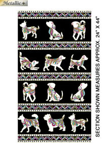DOG-ON-IT-Dog-Walk-Quilting-Fabric-Panels-Cotton-24-034-x-44-034