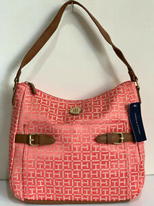 NEW-TOMMY-HILFIGER-BRIGHT-ORANGE-MONOGRAM-LOGO-BUCKET-HOBO-PURSE-BAG-79-SALE