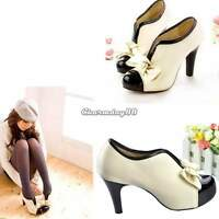 Sexy Women Girl Fashion Lolita Bow Platform Pumps Ankle Heels Boot Shoes C1MY