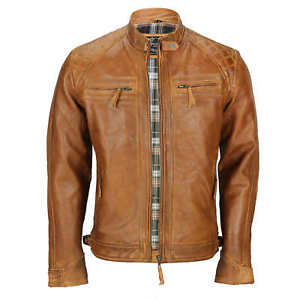 Mens-Real-Leather-Washed-Tan-Rust-Brown-Vintage-Zipped-Smart-Casual-Biker-Jacket