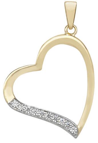 Hermoso Colgante De Corazón Oro 9ct Damas Con Zirconia Cúbico//CZ 31mm*21mm