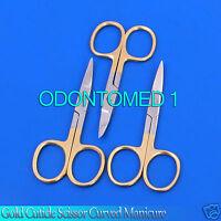 3 Pcs Gold Cuticle Scissor Curved Manicure Pedicure Nail Art Tool Accessory