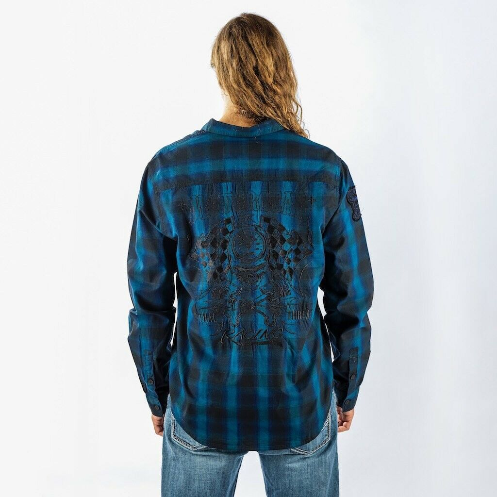 blueE MOTORCAR PLAID SHIRT MOTORCYCLE RIDING GEAR VTWIN NIGHT ROD ACCESSORIES M-3