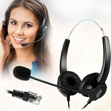 AGPtEK Hands-free Call Center Noise Cancelling Corded Binaural Headset With RJ9