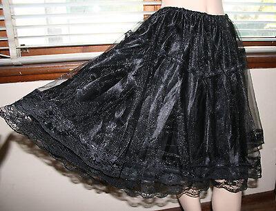 Beautiful Black Skirt Lace Lolita Pretty Gothic Burlesque Elastic Waist Party
