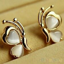 #1172 Butterfly White Cat's Eye Opal Stone Gold Plated Ear Stud Earrings