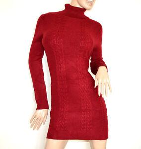 e7db615d73 Dettagli su ABITO vestito a maglia rosso donna maglione collo alto manica  lunga maxipull G76
