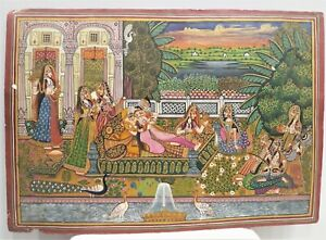 Handmade-Mughal-Miniature-Painting-Indian-King-And-Queen-Enjoying-With-Music
