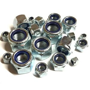 8mm-10mm-12mm-14mm-16mm-FINE-PITCH-T-TYPE-NYLOC-NUTS-Lock-Nut-Zinc-Plated-DIN985