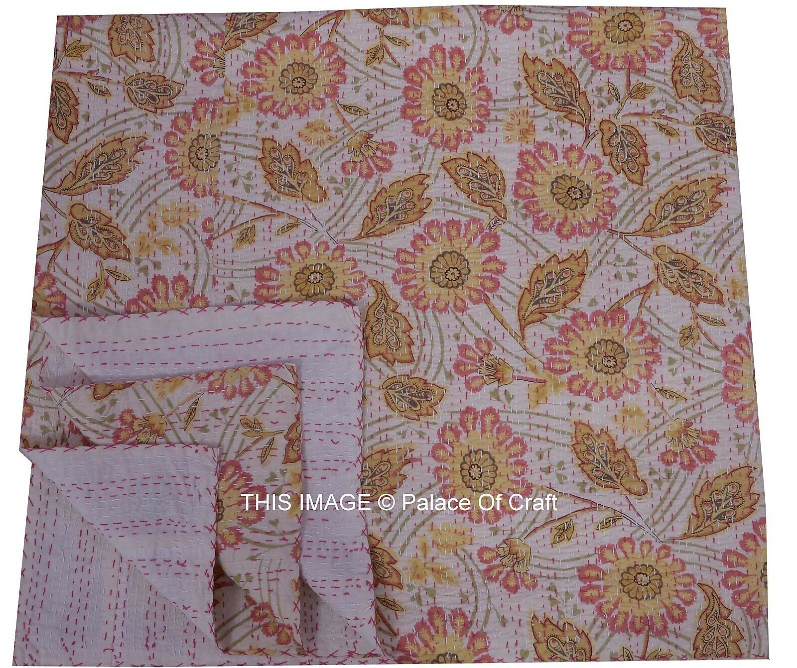 Indian Queen Size Cotton Reversible Kantha Quilt Floral Printed Ethnic Handmade