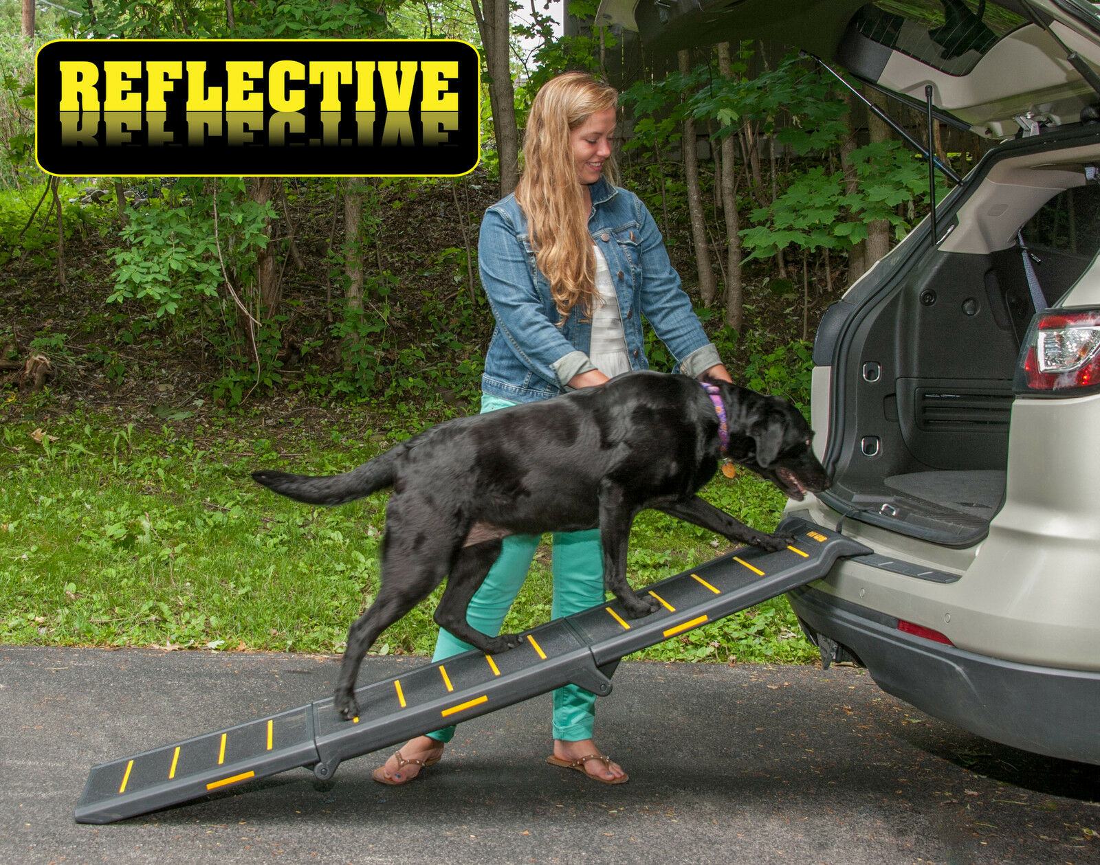 NEW  Pet Gear Travel Lite Tri-Fold Reflective Dog   Pet Ramp 71  Long  TL9371RF