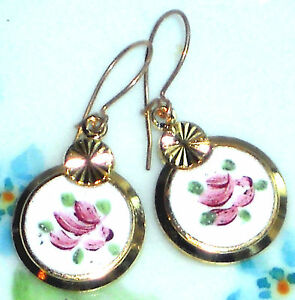 #1492E Vintage Earrings Guilloche Enamel Floral Gold Plated Flower Dangle Pink