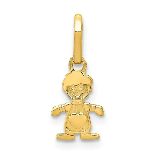14K Yellow Gold Textured Little Boy Figure w// Heart Mother/'s Day Charm Pendant