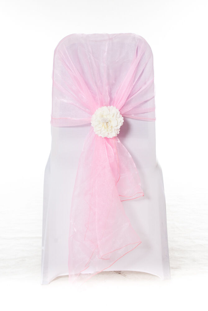 100 bébé Rose Organza Chair Cover Hood Wrap Sash Bow