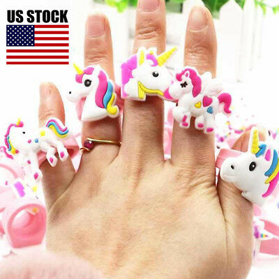 5~30Pcs Cute Unicorn Cartoon Ring Soft Silicone Birthday Party Toy For Childs