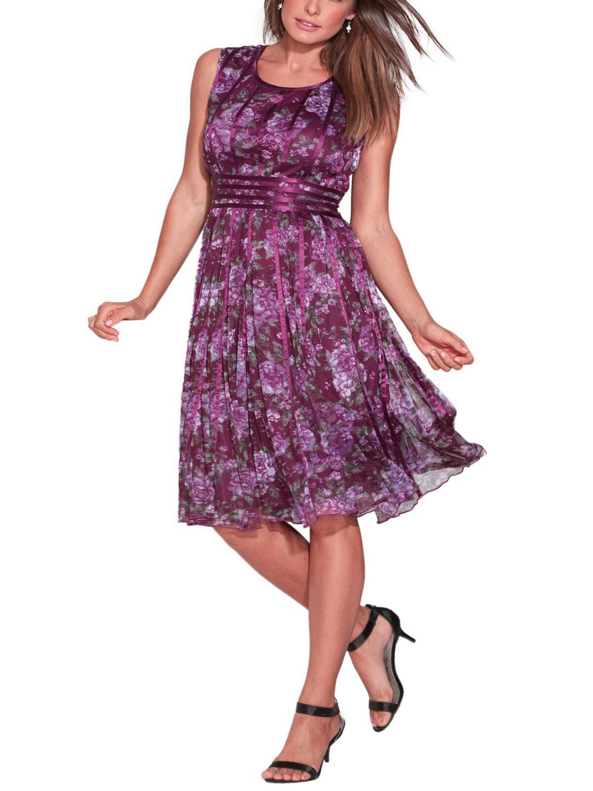 Kleid Gr.46+50+54+58 Damen festlich Lila Blüten Abendkleid Cocktailkleid knielan