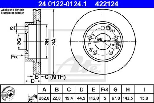 2x ATE Bremsscheibe Bremsscheiben Satz Bremsen Vorne 24.0115-0105.1