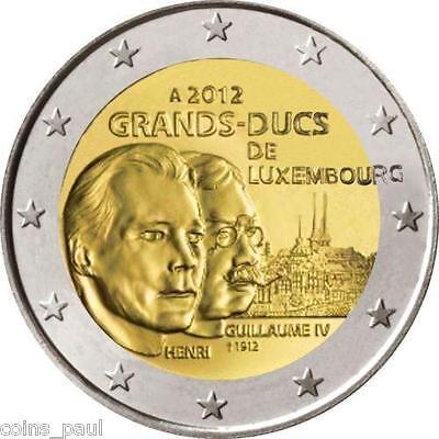 """Luxembourg 2 euro 2012 /""""Death of William IV/"""" BiMetallic UNC"""