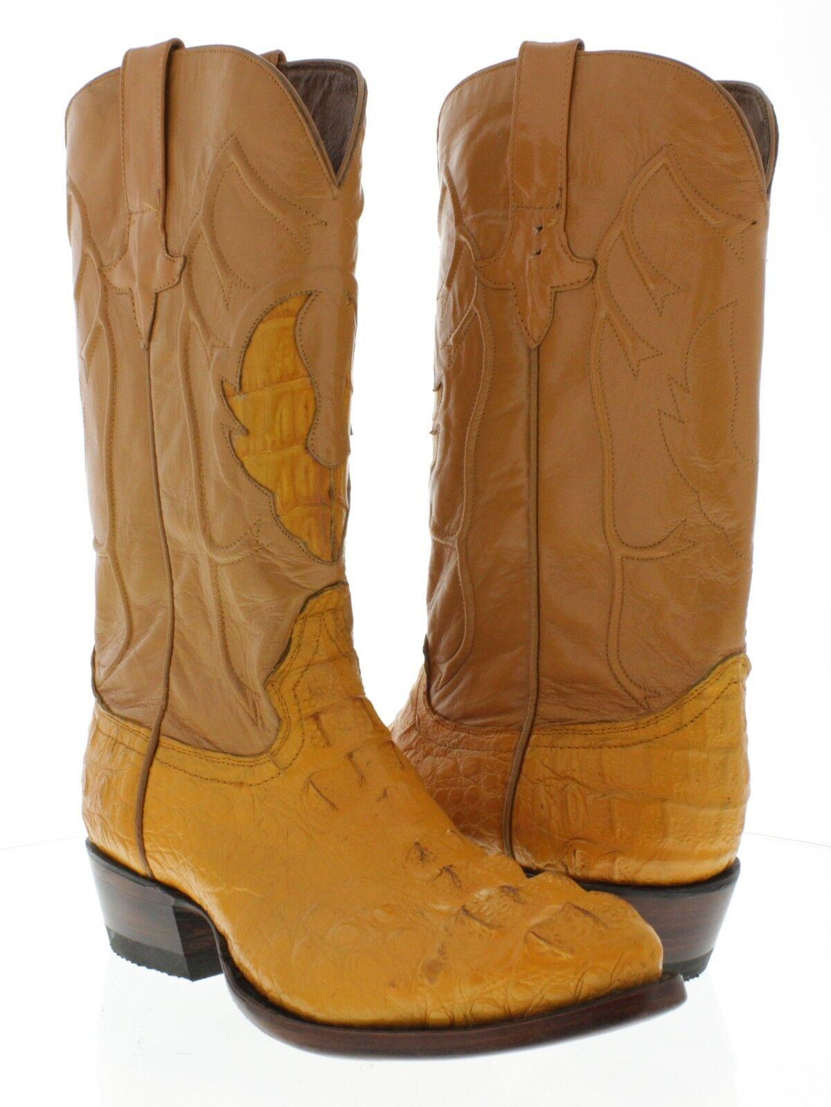 Cocodrilo Cocodrilo Genuino Naranja Para Hombre botas de vaquero occidental J del Dedo del Pie